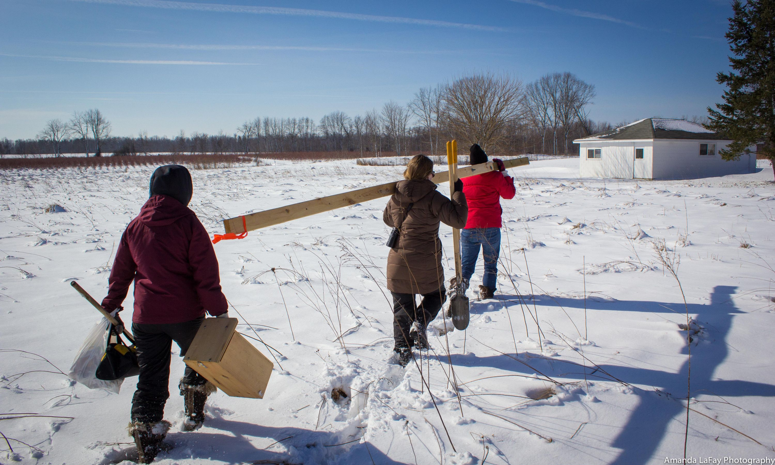 Trekking to box location, February 2016, Van Buren County, Michigan